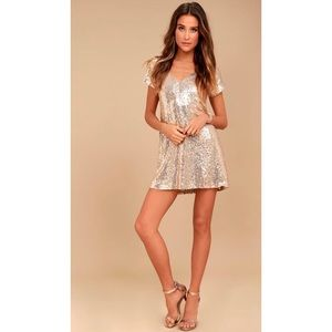 Light Up The Night Champagne Sequin dress NWOT